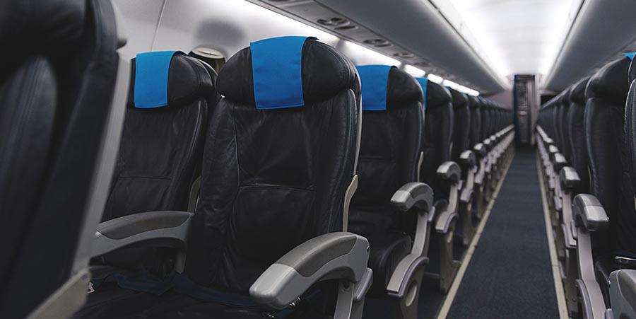 Kabine eines Charterflugzeuges